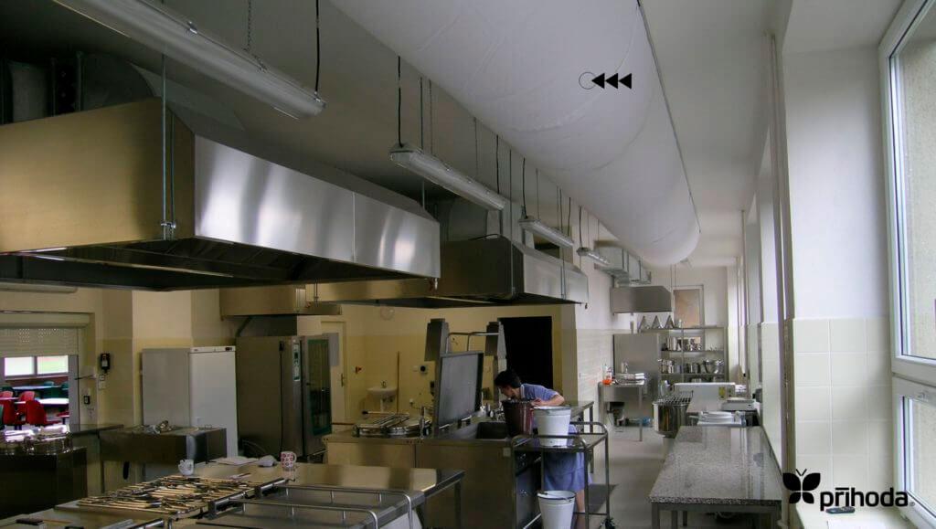 Текстильные воздуховоды на кухне